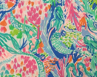 """mermaid's cove organic cotton fabric square 11""""x11"""" ~ lilly spring 2018 ~ lilly pulitzer ~ pottery barn"""