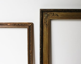 2 Antique Gold Picture Frames, Embossed, Finished Corner, c.1915, Ready to Use for Your Treasures, Lovely!