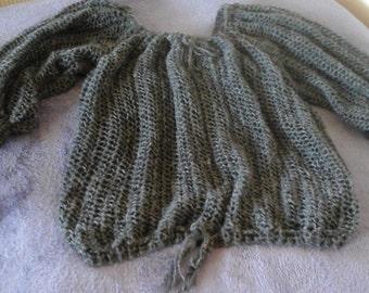 Handspun handknit Blouson style top in suri alpaca
