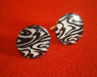 Zebra Glass Disc Cufflinks