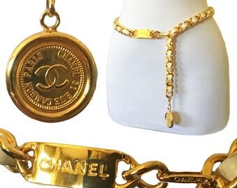 Vintage CHANEL ID Logo Chain + White Leather Belt