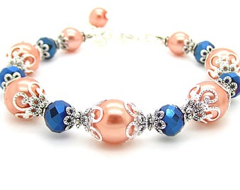 Navy and Peach Pearl Bracelet, Peach Bridesmaid Bracelet, Pearl Bridal Sets, Navy Bridesmaid Jewellery, Coral Weddings, Bridal Party Gifts