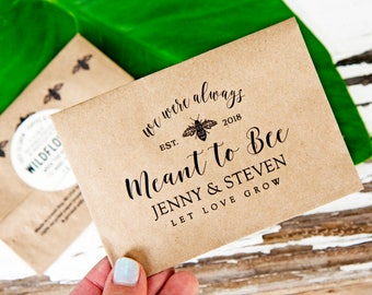 Wildflower Seed Wedding Favor Packets - Let Love Bloom, Bee Design, Meant to Bee - Design Style 2 - Plantable Gift - 30 Packets or more