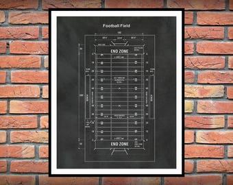 Football Field Diagram Print - Super Bowl Gift - Football Game Room Decor - Football Patent -  NFL Decor - Football End Zone Art Print