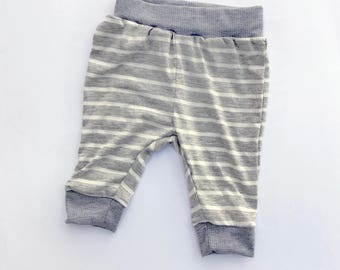 Light Gray and White Striped Baby Pants, Toddler Pants, Baby Leggings, Baby Trousers, Baby Joggers, Hipster Baby Pants, Soft Knit Pants