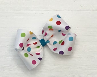 """Large Bright polka dot bow, 5"""" boutique bow, on alligator clips with teeth, Great for Spring, ready to ship"""