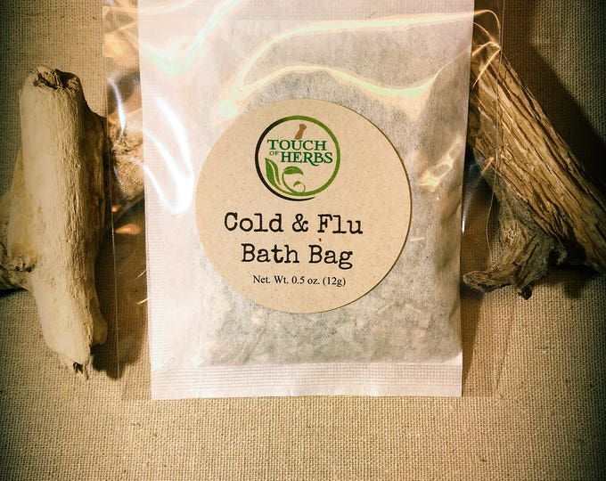 herbal tea bath. Cold & Flu. Bath Bag. natural products to relief cold and flu symptoms. natural remedies. feel better gifts. get well gift.