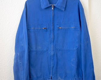 French Zip up Workwear Jacket - Bright Blue / S / M