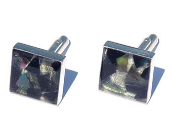 CUFFLINKS - Mosaic Cuff Links, Glass Mosaic Cuff Links