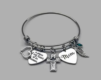 A Piece Of My Heart In Heaven Bracelet, Mom Memorial Bracelet, Mother Memorial Bracelet, Remembrance Charm Bracelet, Stainless Steel