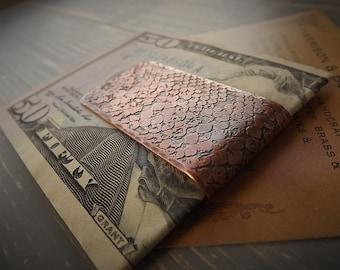 Money Clip, Snake Skin, Copper, Etched, Bill Fold, Snakeskin, Textured, Distressed, Rustic, Gift, Wallet, Snake, Skin, Handmade