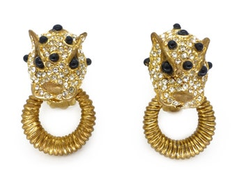 Vintage Ciner Rhinestone Leopard Door Knocker Earrings