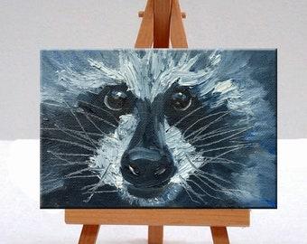 Raccoon, Portrait, Oil Painting, Original, 4x6 Canvas, Small, Animal, Face, Black, White, Fur, Wild, Woodland Creature