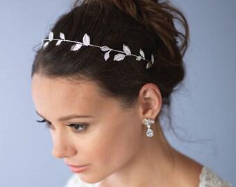 Floral Vine Headband, Silver Wedding Headband, Leaf Bridal Headband, Headband for Bride, Bridal Headpiece, Bridal Hair Accessory ~TI-3285