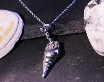 Solid Sterling Silver Seashell Necklace