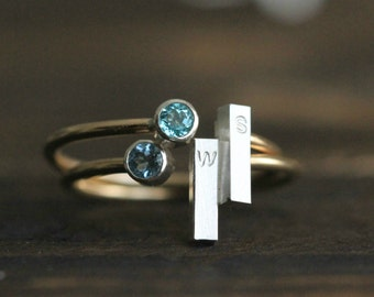 Birthstone Initial Ring Stacking Ring Custom Ring Adjustable Stacking Ring w ONE Genuine Birthstone and Silver bar Ring By Pale Fish R002