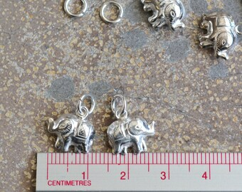 Elephant Charms, Sterling Silver, Small Elephant, Lucky Elephant, Good Luck Elephant, Baby Elephant, Silver Charms, Thai,  (2) PS15-0130