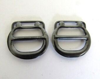 Pair Small Pressed Metal Vintage Slider Buckles