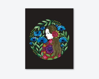ART Print/Illustration/Flemish with shawl/home decor/women/drawing/flowers/by Elisabeth Aranda