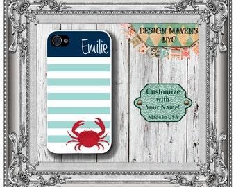 Preppy Crab iPhone Case, Personalized iPhone Case, Striped Monogram iPhone Case, iPhone 4, 4s, iPhone 5, 5s, 5c, iPhone 6, 6S, 6 Plus, SE