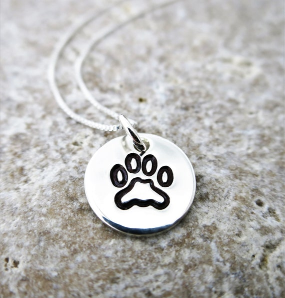 Paw Print Necklace - Gift for Dog Lover - Gift for Animal Lover - Sterling silver Pendant - Gift for Cat Lover - Hand Stamped Paw Print