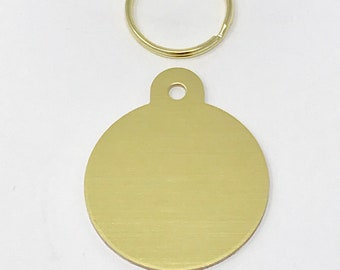 Large Round Brass Pet ID Tag. Engraved.