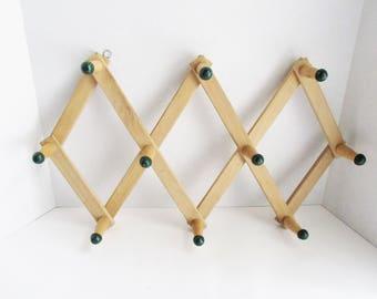 Vintage Peg Rack Wooden Natural Wood Green Knobs Accordian Wall Hook Coat Rack Hat Rack Mug Rack Scarf Rack
