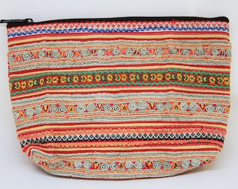 Vintage Hmong/Ethnic/Hill Tribe/Tribal/Purse/Cosmetic Pouch/Stationery Pouch/Appliqué and Embroidered Patterns Fabric Pouch/Cosmetic Bag/CP5