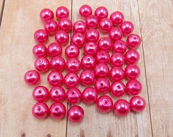 8mm Glass Pearls - Bright Pink - 50 pieces - Hot Pink - Dark Pink
