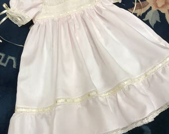 Lace yoke pink ruffl dress