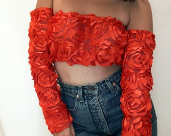 Handmade 3d roses Shoulder Off Crop Top One size S-M-L