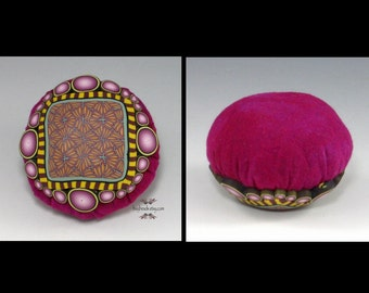 Polymer Clay Pincushion, Handmade, Fuchsia Pink, Sage Green, Golden Yellow