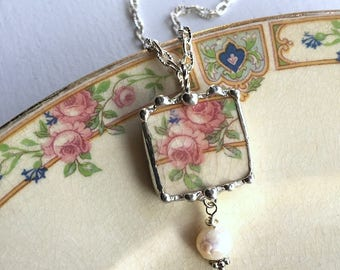 Broken china jewelry. broken china necklace pendant, pink roses, recycled china, baroque pearl drop, Dishfunctional Designs