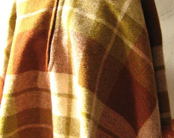 Vintage 1960s Plaid Wool Poncho Collared with Front Zipper Union Made Mid Century Retro School Girl Rust Moss Green