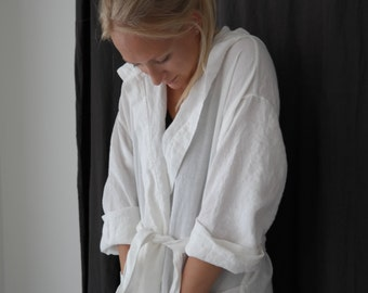 LINEN ROBE with Hood. Morning dress for women. Made by MOOshop.*60