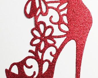 High Heel Shoe Glitter Die Cut Red Glitter Card Stock - Glamorous Feminine Embellishment Scrapbook Card Party Invitation Art Craft Collage