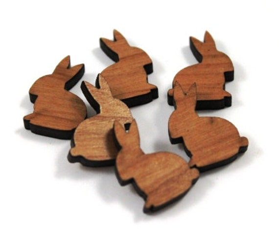 Laser Cut Supplies-8 Pieces.Woodland Rabbit Charms- Laser Cut Wood Rabbits -Earring Supplies-Little Laser Lab Sustainable Wood Products