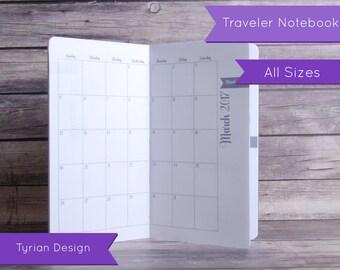 2017 MO2P Calendar for Midori Traveler's Notebook,  Dated 2017