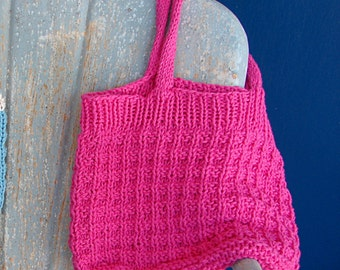 Pattern for Knit Shopping Tote Bag Hand Knit Pattern Purse Bag