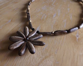 Boho Style Coconut Wood and Crystal Flower Necklace #182063