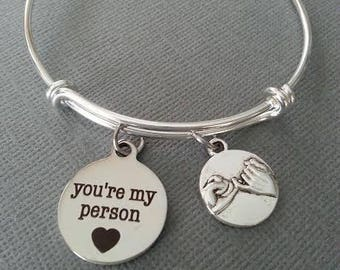 Best Friend  Bangle Bracelet / Pinky Promise Bangle Bracelet / your my person / grays anatomy / you're my person