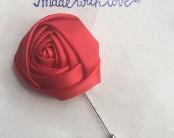 Mens Lapel Pin, red Lapel Flower, Mens Lapel Flower, Satin Flower, Stain Lapel Pin, Satin Flower Lapel Pin, Boy's Flower, Boutonnière