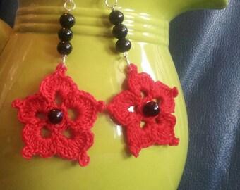 Red crocheted flower earrings