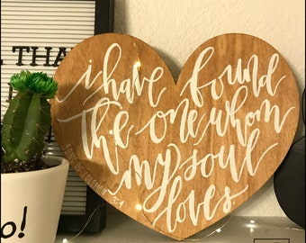 Heart hand painted wooden sign