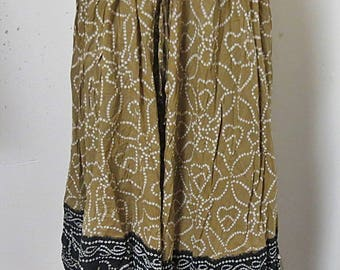 Vintage 1970 Indian Cotton Gauze Hippy Skirt XL #351