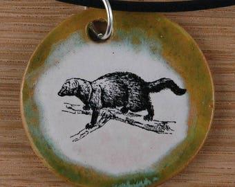 Orginal handicraft: pendant with an American marten; science, biology, animal, jewelry, jewellery