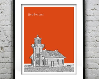 Mendocino California Poster Art Skyline Print CA Lighthouse