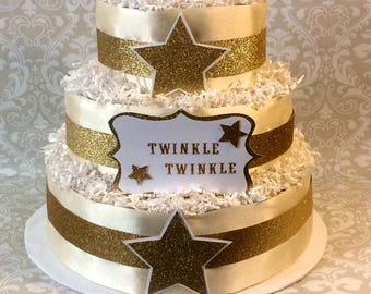 Baby Boy or Girl 3 tier Diaper cake - Twinkle Twinkle Little Star - an adorable diaper baby shower gift - made to order