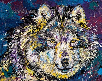 Wolf art, Wolf print, Wolf wall art, 16x20 Giclee print, modern wall art, by Johno Prascak, Pittsburgh artist