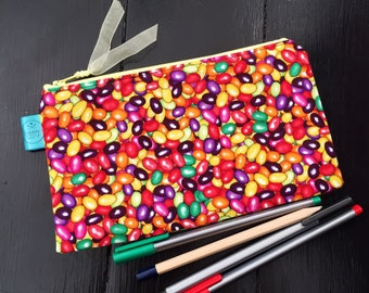 Jellybean pencil case, jelly bean make up bag, zip pouch, cosmetics bag, colouring, teen gift, gift for her, crochet, school, sweet gift,